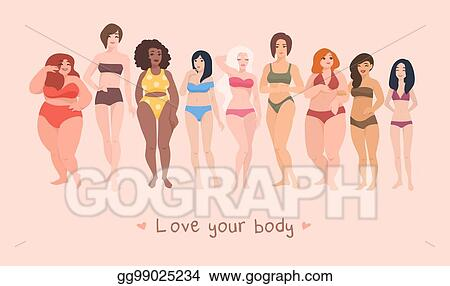 Vector Art Multiracial Women Of Different Height Figure Type And Size Dressed In Swimsuits Standing In Row Female Cartoon Characters Body Positive Movement And Beauty Diversity Vector Illustration Eps Clipart Gg99025234
