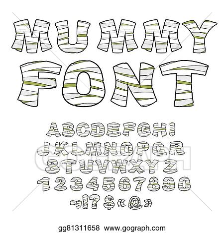 Mummy Font Alphabet In Bandages Monster Zombie Letters Of Latin Learned Embalming Ancient Egyptian Type