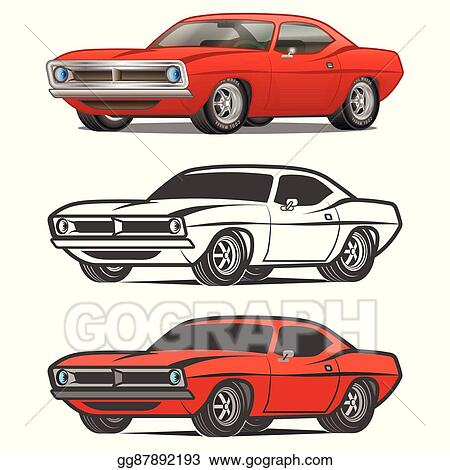Vector Stock Muscle Car Cartoon Classic Vector Poster T Shirt