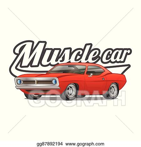 Vector Stock Muscle Car Cartoon Classic Vector Poster T Shirt