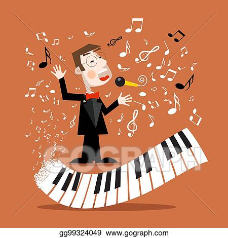 Vector Stock Music Background With Abstract Piano Keyboard And