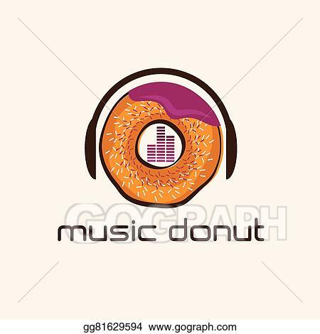 Vector Stock Music Donut Concept Vector Design Template Stock
