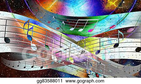 Drawings - Music note and space with stars  abstract color