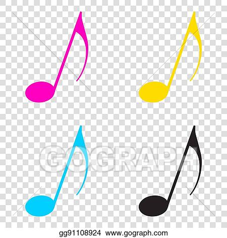 Vector Stock Music Note Sign Cmyk Icons On Transparent Background