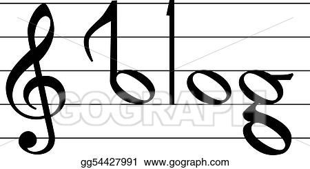 vector clipart music note symbol blog word design vector rh gograph com Musial Notes Trumpet Notes