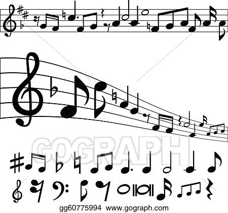 Vector Stock Music Notes And Symbols Clipart Illustration