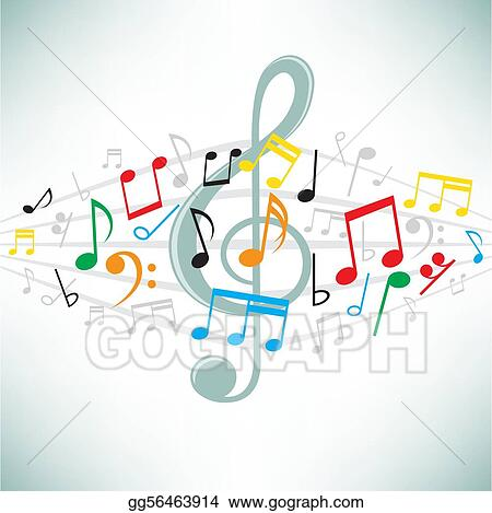 Vector Clipart Music Notes Background Vector Illustration
