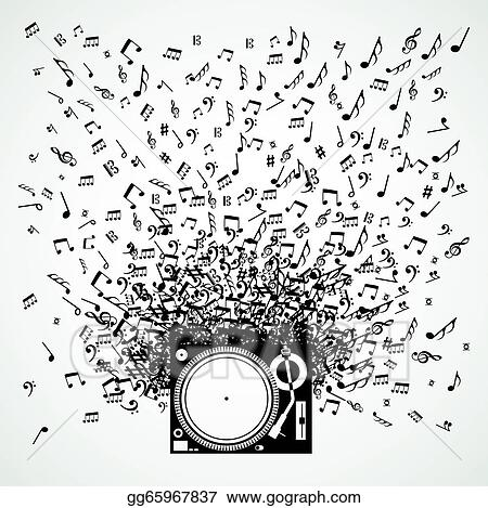 Vector Art Music Notes From Turntable Isolated Design Clipart