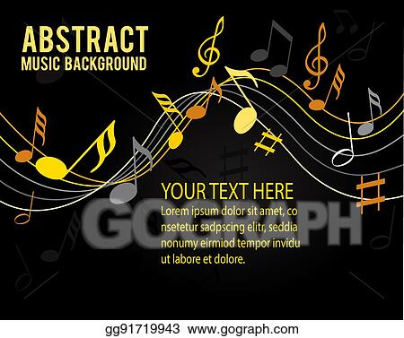 Vector Art Music Notes Gold On A Black Background Eps
