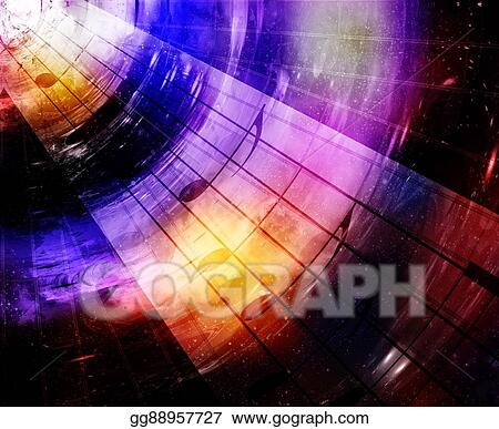 Clip Art - Music notes in space with stars  abstract color