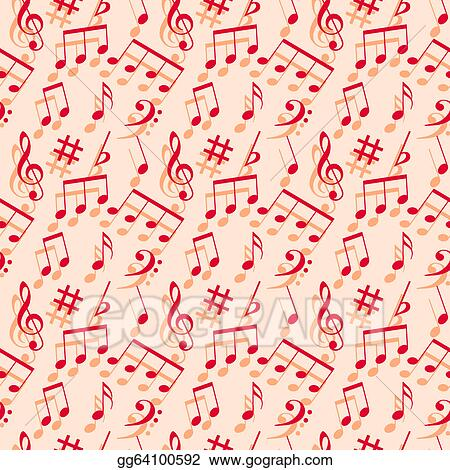 Eps Vector Music Notes Seamless Wallpaper Stock Clipart
