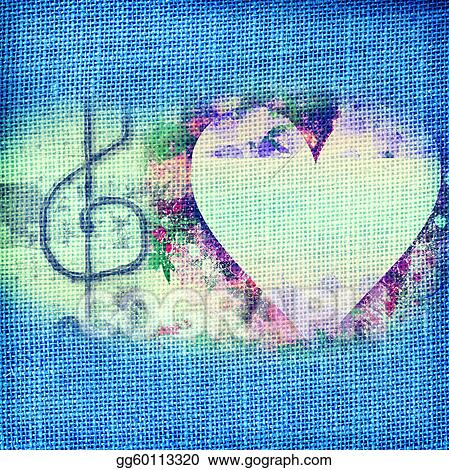 Clip Art Music Romantic Card Heart And Treble Clef Stock
