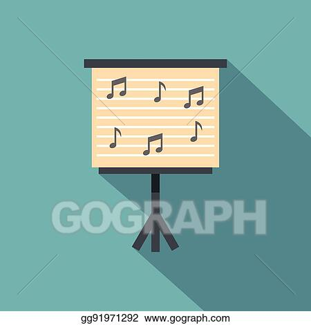 Vector Art Music Stand With Piano Notes Icon Flat Style Clipart