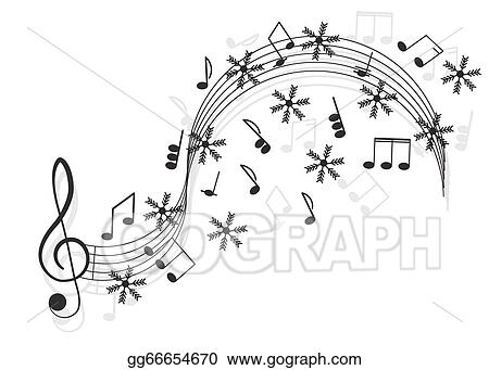Vector Art Music Treble Clef And Notes With Snowflake For Your