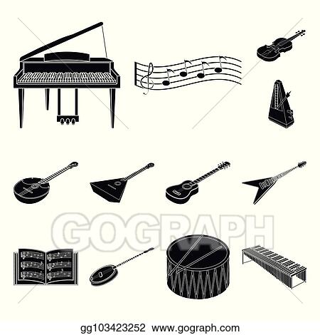 Vector Stock Musical Instrument Black Icons In Set Collection For