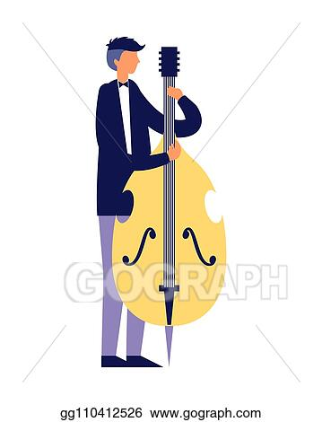 Vector Clipart Musician Man Playing Cello Instrument
