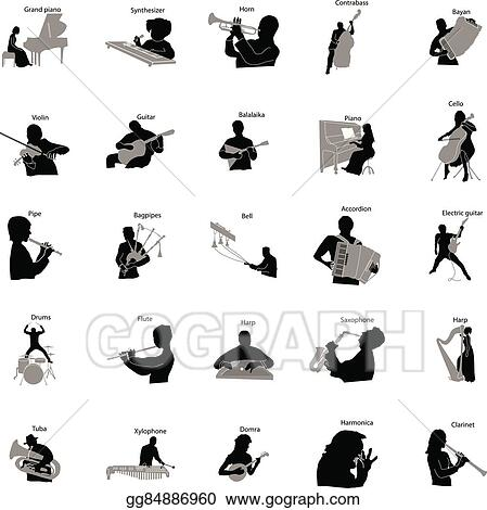 vector illustration musicians silhouette set icons simple style