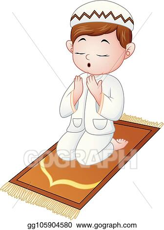 vector illustration muslim kid sitting on the prayer rug while praying stock clip art gg105904580 gograph https www gograph com clipart license summary gg105904580