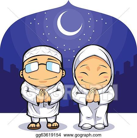Vector art muslim man woman greeting ramadan eps clipart muslim man woman greeting ramadan m4hsunfo