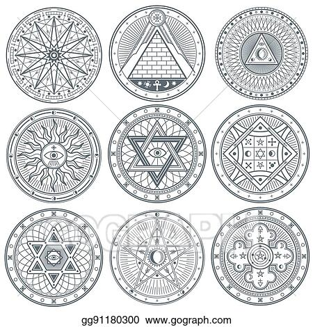 Vector Art Mystery Witchcraft Occult Alchemy Mystical Vintage