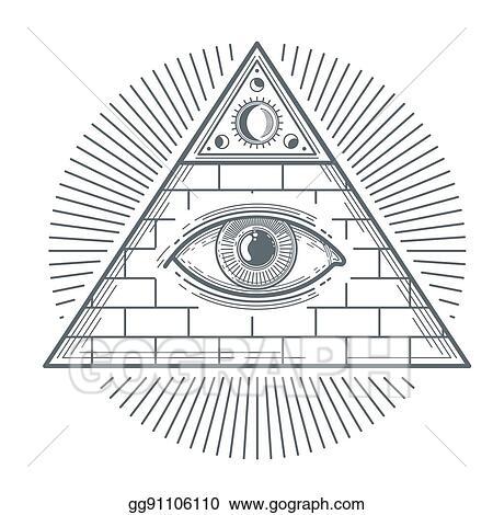 Vector Stock Mystical Occult Sign With Freemasonry Eye Symbol