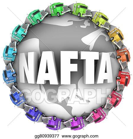 Clip Art Nafta North American Free Trade Agreement Trucks Stock