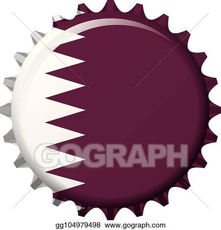 Vector Illustration - National flag of qatar on a bottle cap  vector