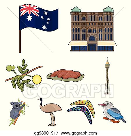 Eps Vector National Symbols Of Australia Web Icon On Australia