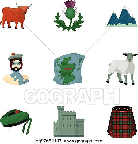 Vector Illustration National Symbols Of Scotland Scottish