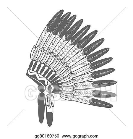 eps illustration native american feathered war bonnet vector rh gograph com Indian Clip Art Indians On Warpath