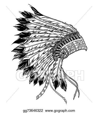 vector stock native american indian chief headdress vector rh gograph com Skull Indian Headdress Clip Art Simple Indian Headdress Clip Art