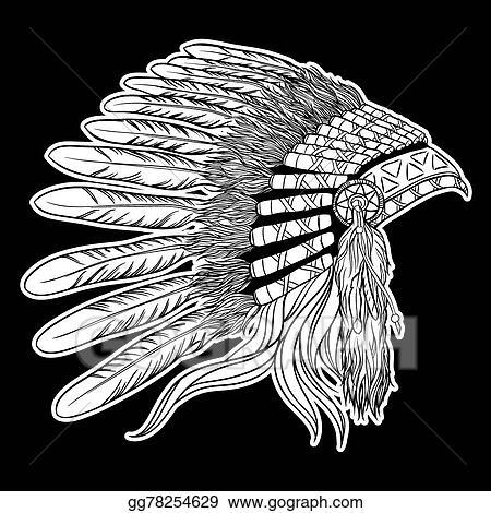 40ed9c489 Native american indian chief headdress. Vector illustration on black  background