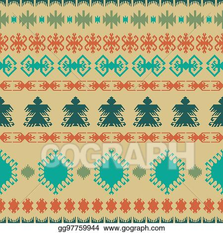 Eps Vector Native American Indian Seamless Pattern Ethnic Traditional Geometric Art With Retro Vintage Design Elements And Arrows Aztec Inca Navajo Tribal Style Vector Illustration Background Beige Green Orange Stock Clipart,Easy Simple Easy Small Rangoli Designs For Diwali