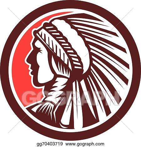 Vector Art Native American Warrior Chief Circle Eps Clipart