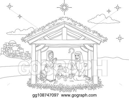 Vector Illustration - Nativity christmas scene coloring ...