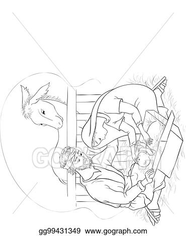 Nativity Scene With Holy Family Jesus Mary And Joseph Coloring Page