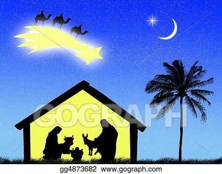 Christmas Jesus Birth Drawing.Stock Illustration Nativity Clipart Drawing Gg4873682