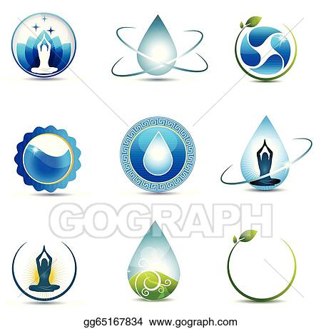 Vector Clipart Nature And Health Care Symbols Vector Illustration