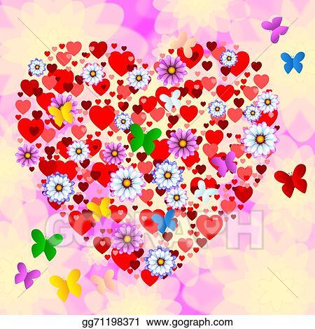 Stock Illustrations Nature Butterflies Represents Heart