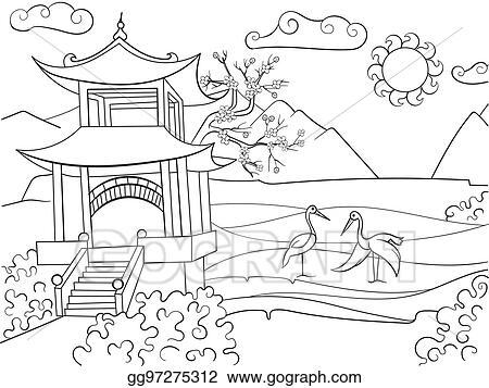 Vector Art Nature Of Japan Coloring Book For Children Cartoon