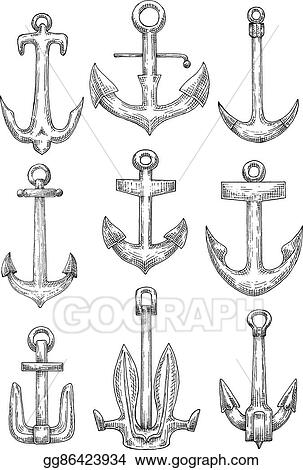 EPS Vector - Nautical anchors for naval ships and boats