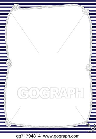 clipart nautical rope frame with navy and white striped background stock illustration gg71794814 - Nautical Picture Frame