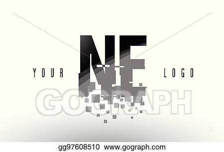EPS Vector - Ne n e pixel letter logo with digital shattered