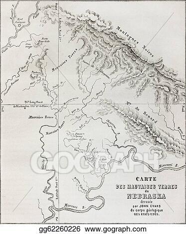 Badlands Nebraska Map.Stock Illustration Nebraska Badlands Map Clipart Illustrations