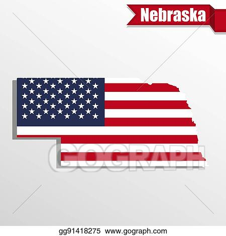 Clip Art Vector Nebraska State Map With Us Flag Inside And Ribbon - Us-map-nebraska-state