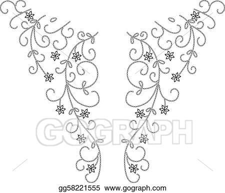 Vector Art Neckline Henna Fashion Design Clipart Drawing Gg58221555 Gograph
