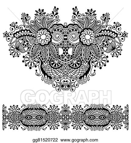 Vector Art Neckline Ornate Floral Paisley Embroidery Fashion Design Clipart Drawing Gg81520722 Gograph