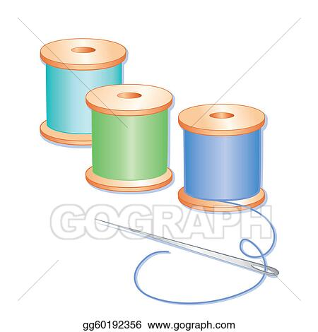Vector Art - Needle and threads. EPS clipart gg60192356 - GoGraph