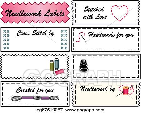 Vector stock needlework sewing labels stock clip art gg67510087 vector stock needlework sewing labels copy space to customize with your name for embroidery needlepoint cross stitch do it yourself fashion crafts solutioingenieria Images