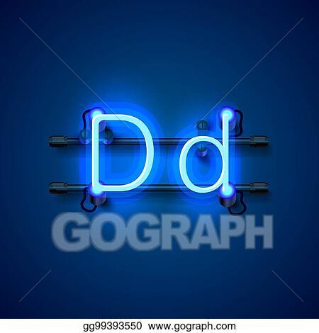 3d5af998d7 Vector Stock - Neon font letter d, art design singboard. Stock Clip ...